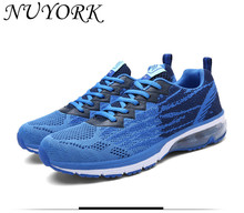 New listing hot sales Summer breathable Men's sports shoes Fly line running shoes 8726