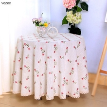 vezon Elegant Linen Europe Embroidery Round Table Cloth Hotel Tablecloth Ornament Embroidered Cover Towel Home Decoration