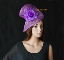 Crocus light Purple Sinamay fascinator hat in SPECIAL shape with silk flower. for Derby,Ascot Races,Melbourne cup,Wedding,Party.