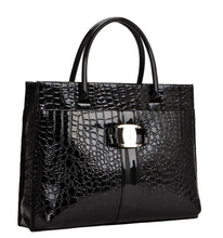 2 Size.Women Crocodile Pattern Hand Bags.Black Red Leather Metal Logo Handbag.Lady Office Casual Tote Shoulder Bag.Bolsos Mujer