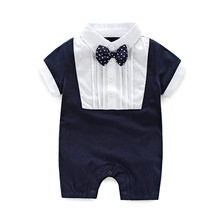 Newborn baby Romper Gentleman baby Clothing for summer baby Jumper with Bow