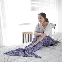 New Fashion Mermaid Tail Blanket Yarn Knitted Handmade Crochet Mermaid Cover blanket Kids Throw Bed Wrap Super Soft Sleeping Bed