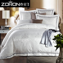 2017 New 100% Cotton Luxury Bedding Set Satin Jacquard Four Bed Set Duvet cover Full/Queen/King Bedspread Bed linen ZR-TH0020
