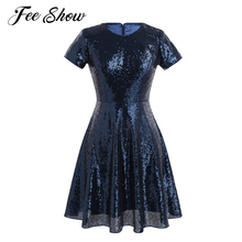 New Women Ladies Round Neckline Short Sleeve Dress Elegant Shiny Sequins Wedding Party Bridesmaid A-line Semi-formal Short Dress(China)