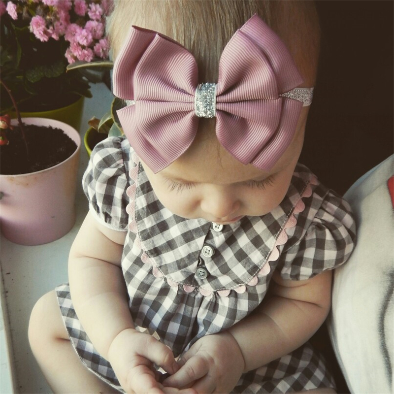 22 color new Baby hair bow flower Headband Silver ribbon Hair Band Handmade DIY hair accessories for children newborn toddler(China)