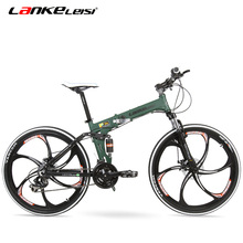 G6 26 Inches Folding Aluminum Alloy Frame Bike, 24 Speed, Both Disc Brake, Mountain Bike Folding Bicycle for 165-185 Rider