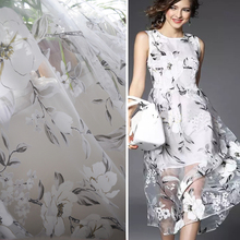 large floral print gauze high grade wedding dress fabric tecido natural white organza material(China)