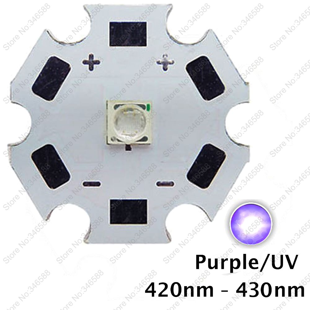 5pcs 3W 420nm to 430nm UV Ultraviolet Purple Color 3535 Epileds High Power LED Light Emitter Diode on 8/12/14/16/20mm Star PCB<br><br>Aliexpress