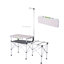 Metal Outdoor Activities Folding Table Self Driving Portable Kitchen Picnic Patio Barbecue Table Outdoor Sets(China)