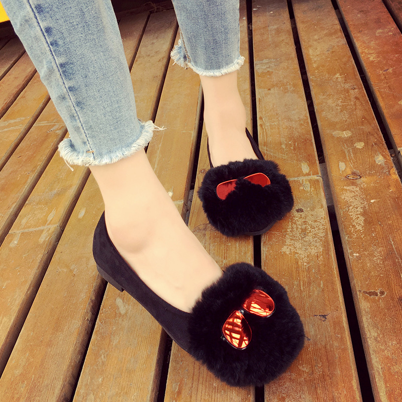 New Fall and Winter Rabbit Hair Pregnant Women Shoes Pea Shoes Round Flat Flat Casual Fashion Women Plush Shoes<br><br>Aliexpress
