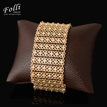 2017 New Fashion Crystal Women Men's Big Bracelets Dubai Gold Color Cuff Bangles Party Wedding Christma Gift Brand Jewelry 21CM