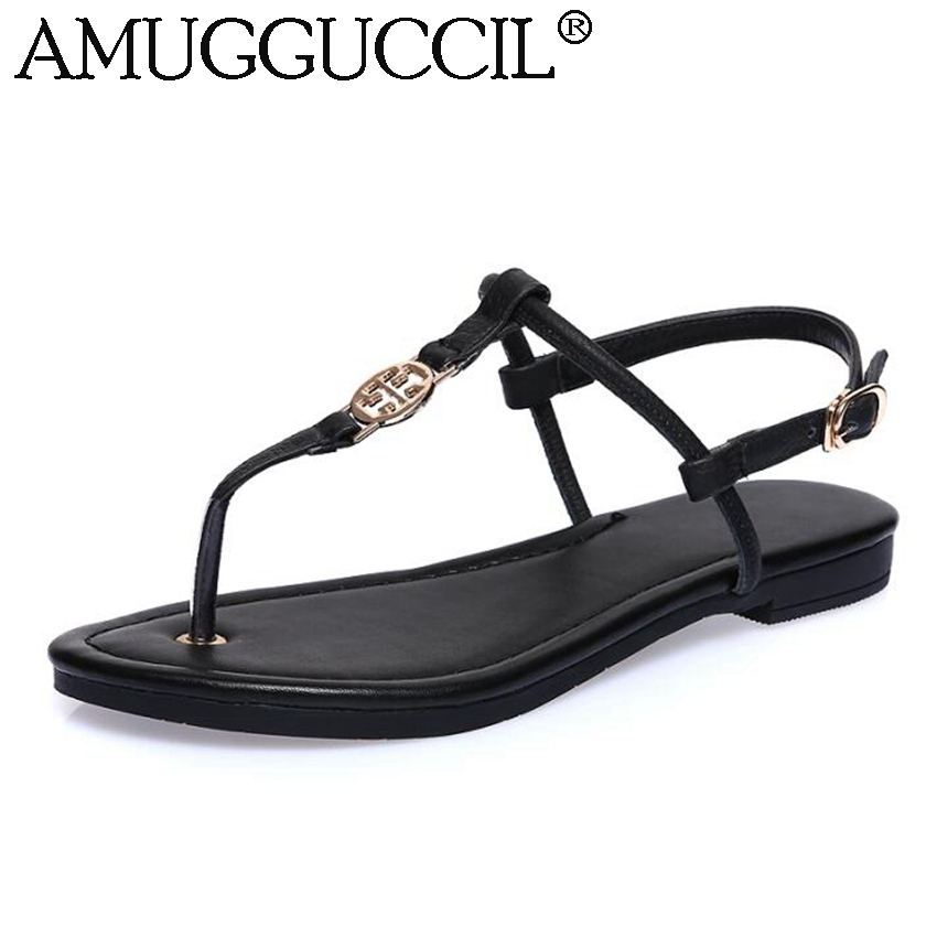 Wholesale!Genuine Leather Black Buckle Fashion Casual Sweet Girls Summer Females Lady Women Flats Sandals L824<br><br>Aliexpress