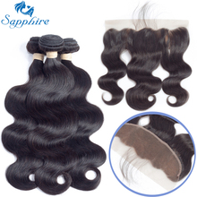 Sapphire Malaysian Body Wave Remy Human Hair Bundles With Lace Frontal 1B# Color For Hair Salon High Ratio Longest Hair PCT 15%(China)