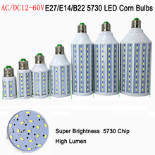 10pcs 12-60V 12V 24V 36V 48V 60V 7W 10W 15W 18W 25W 30W LED E27 E14 B22 SMD 5730 Energy Saving Corn Light Spotlight Bulb(China)
