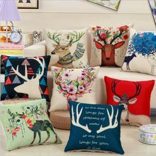 Retro Christmas Deer Printed Cotton Pillowcase Home Decoration Textile Art Crafts Sofa Car Cushion Cover Linen Cloth Pillow Case(China)