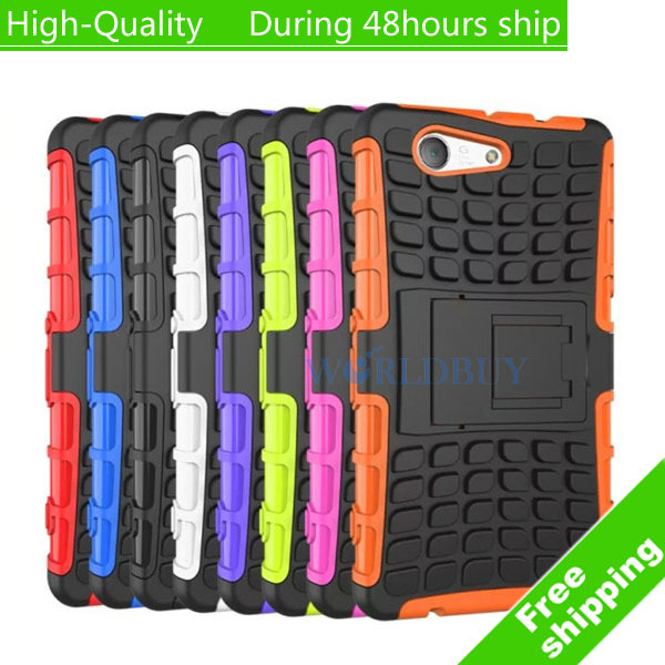 High 2 1 Hybrid Silicone PC Hard Case Holder Cover Sony Xperia Z3 Mini Z3 Compact M55W