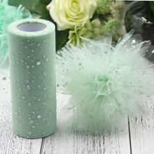 Glitter Organza Tulle Roll 15cm 25 Yards Organza Sheer Gauze Element For Wedding New Year Decorations Birthday Party Supplies(China)
