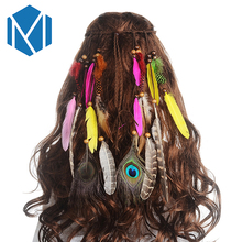 MISM Feather Headband For Women Girl Boho Peacock Headpiece Long Rope Colorful Plume Hair Rings Festival Woven Bands With Beads(China)