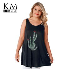 Buy Kissmilk Plus Size Women Fashion Sleeveless Basic Top Solid Color Round Neck T Shirt Loose Plant Print Casual T Shirt 3XL 7XL for $9.60 in AliExpress store