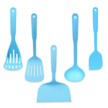 PREUP Blue Coated Food Grade Cookware Spatula Scraper Colander Spoon Set Utensils Cooling Kitchen Tools Accessories Hot(China)