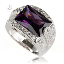 Amethyst Cubic Zirconia oblong Silver Plated RING BR4a55 sz# 6 7 8 9 Wholesale Fashion Jewelry Promotion Favourite Best Sellers