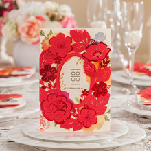 50pcs Red Rose Laser Cut Hollow Luxury Wedding Invitations Card Elegant Customize Printing Souvenirs Wedding Party Supplies(China)