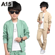 A15 2017 Spring Autumn Kids Clothes Set Toddler Boys Clothing Costume Kids Tracksuits Fashion Jacket Pants Age 6 8 10 12 14 Year