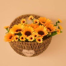 wall hanging flowers basket with artificial flower rose orchid sunflower home wedding decoration accessories blue white color