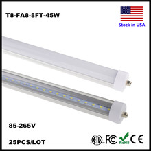 Stock In US! T8 LED Tube 8FT Single Pin FA8 Base Fluorescent Lamp Shop Lights Work without ballast Dual-Ended Power Tube Light(China)
