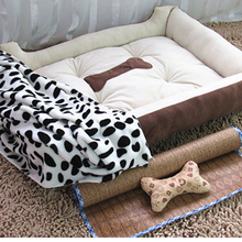 Comfortable Soft Warm Brown Black Fleece Pet Dog Kennel Cat Puppy Bed Mat Pad House Cushion