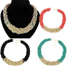 LNRRABC  Fashion Women Elegant Chunky Pendant Beads Chain Statement Bib Collar Necklace 5 Colors
