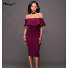 Adogirl Ruffles Slash Neck Women Dress Summer Style Cotton Off Shoulder Sexy Bodycon Vestidos Wine Red Tube Beach Dresses blue