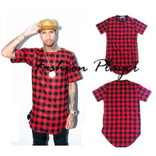 Mens Hip hop Streetwear Tops Side Zippers Plaid Swag Clothing Kanye West Hipster T shirt, Basic Longline Crewneck Tshirt Trim