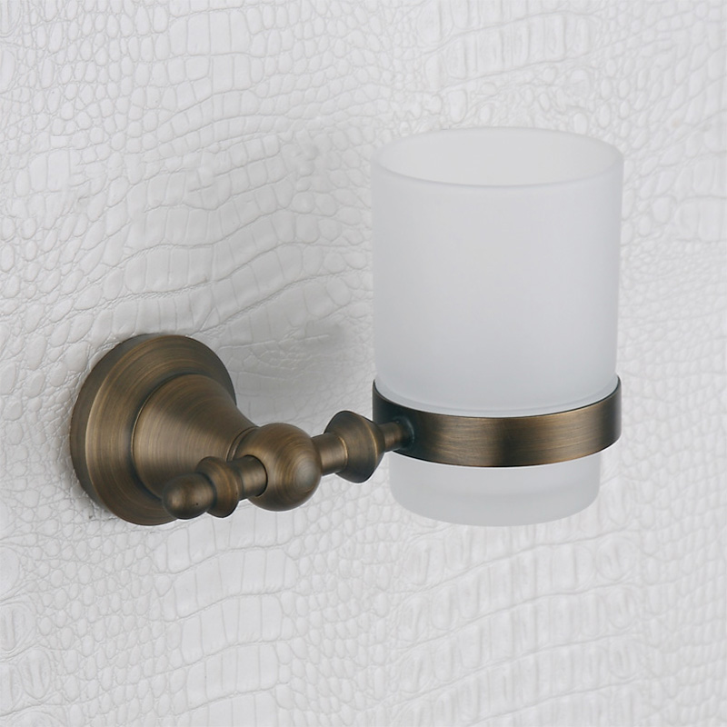 304 Stainless Steel and Copper Toothbrush and Toothpaste Holder Vintag Wall Mounted  Hanger Single Tumbler Holder with Glass Cup<br>