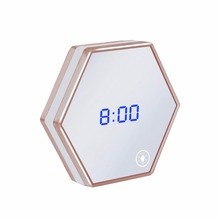 Multipurpose LED Night Light Clock Thermometer Mirror Glass Digital Luminous Alarm Clock Mute Eye Protecting Unique Gift Newest(China)