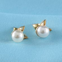 5 Pairs/Set 2017 Newest Fashion Cute Cat Alloy Faux Pearl Cat Head Mini Ear Stud Earrings for Women Best Gift Nice(China)