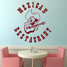 Mexican Restaurant Sign Wall Sticker  Folk Music Sombrero Guitar Design Wall Decal Mexican Food Home Decor Wall Murals W-25