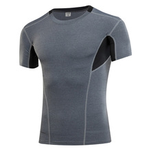 Spandex Polyester Men Quick Dry Tops patchwork t shirt men fitness super fast dry tees camisa masculina crossfit s-xxxl tees(China)