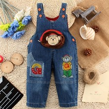 1-3Y Children Denim Jumpsuit 2017 Spring Cartoon Baby Bib Overalls Fashion Kids Clothes Boys Jeans Pant For Girls Denim Overalls(China)