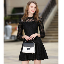 Luxury Runway Designer Lace Mini Dress 2017 New Summer Lace Hollow Out Red Black White Dresses for Bridal Women Wedding Party