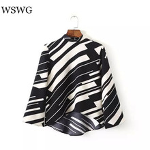 2017 Women Euro Black And White Striped Blouse Asymmetric Length Shirt Flare Sleeve Thin Tops Stand Collar Summer Spring 60522