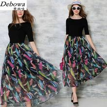 Debowa Fashion Patchwork Long Dress Women 2017 New Summer Dress Half Sleeve O-neck Women Casual Dresses Euro Brand Dress