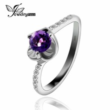 Romantic Genuine Amethyst Gemstone Ring For Beautiful Women Solid 925 Sterling Silver New Women Jewelry Hot Sale 2016