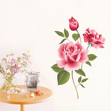 2017 Rose Flower waterproof wall sticker Removable Decal Home Decor DIY stickers Art Decoration For TV bedroom decor accessories(China)