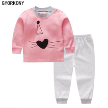 2018 Kids Thermal Underwear Solid Thick Cotton Children's Warm Suit Clothes Baby Boys Girls Long Johns Pajamas Sets A-BN1018-1P(China)