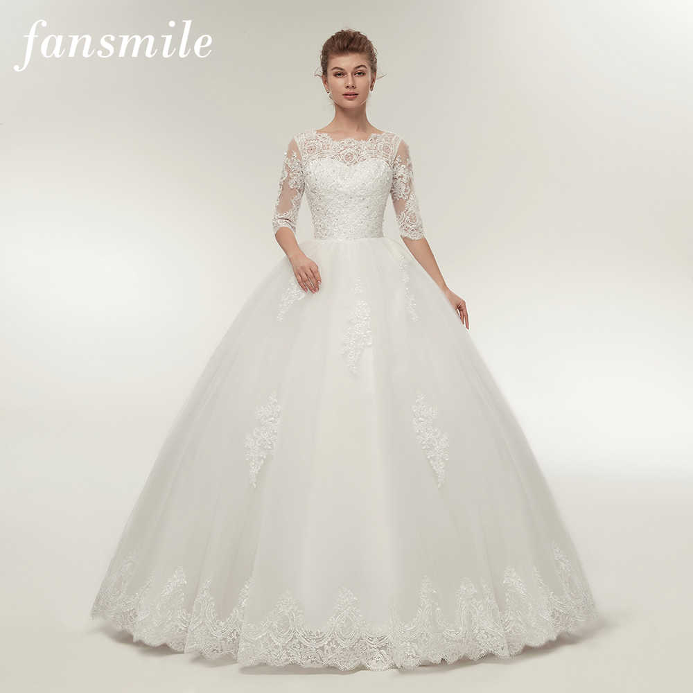 Detail Feedback Questions about Fansmile Real Photo Vintage Lace Up Ball  Wedding Dresses 2019 Customized Plus Size Bridal Wedding Gowns Free  Shipping FSM ... 1ff6e36a501a