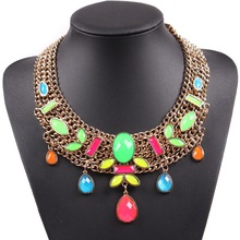 2017 Latest Fashion Neon Big Chunky Statement Necklace Fluorescence Jewelry For Europe Market