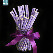 25 pcs/lot Polka Dot Purple Paper Drinking Straws Creative Drinking Tubes Party Supplies Wedding