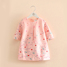 2-7Y floral girls dress autumn Toddler Kid middle Sleeve Dress Casual Cotton children clothing baby clothes spring