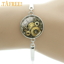 TAFREE Brand Fashion steampunk Cat bracelet vintage punk clock cat gears image glass cabochon handmade men women jewelry BA060